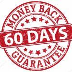 60 days money back guarantee round textured rubber stamp